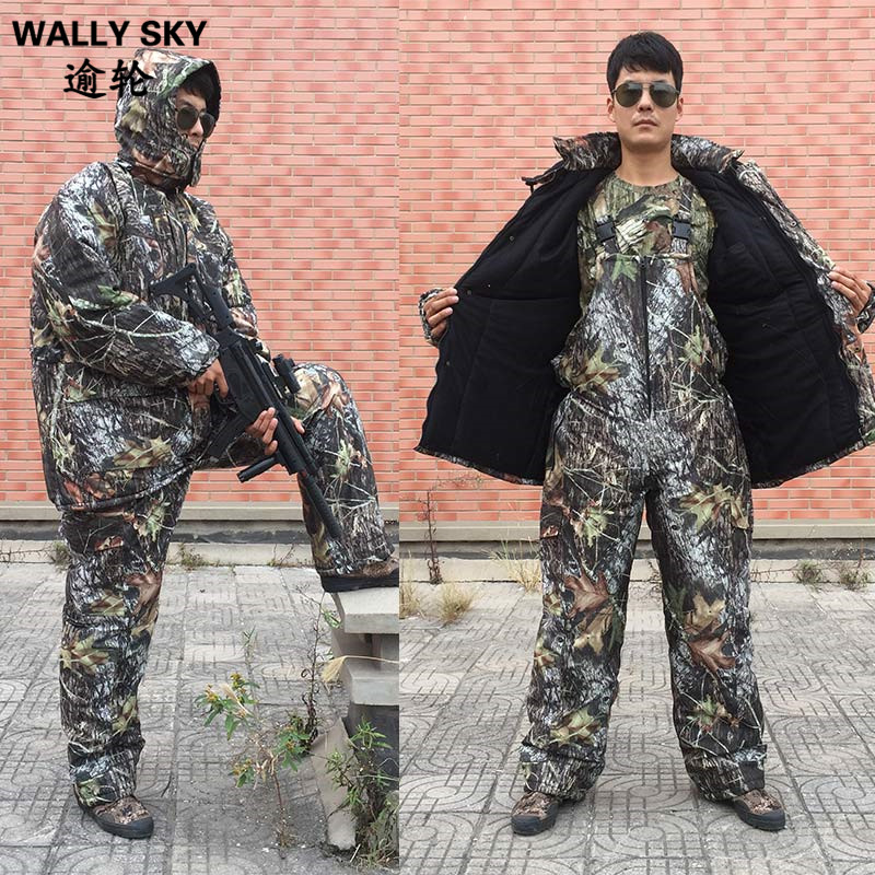 Winter Bionic Military Jungle Camo Suits Windproof Thermal Cotton Wadded Jacket Pants Sets Outdoor Hunting Clothes drawstring spliced camo jogger pants