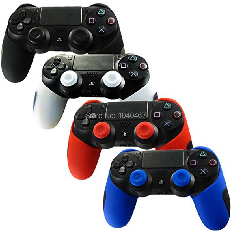 4 Colors for Playstation Dualshock 4 PS4 PRO Slim Controller Silicone Thicker Half Skin Case + 2 joystick Caps