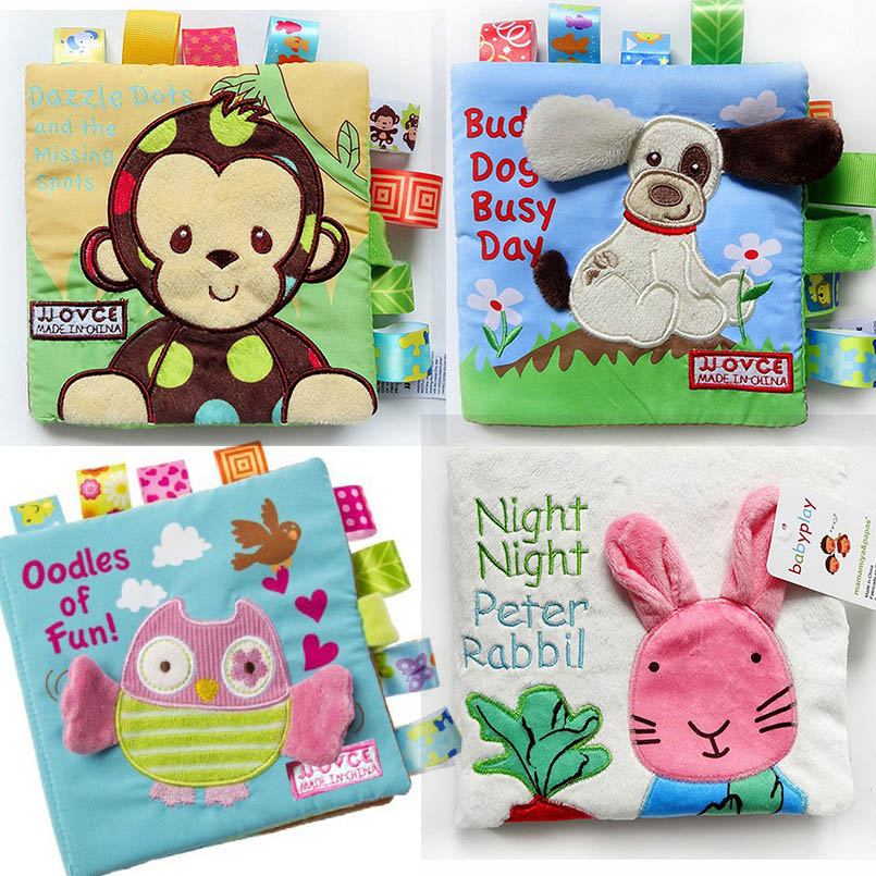 Soft Cloth Books For Baby Boys Girls Cute 0~12 Months Baby Books Rattle Toy Crib Cloth Infant Kids Early Development Toys