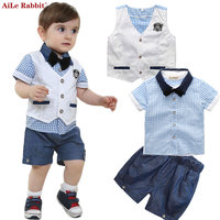 AiLe Rabbit 2017 Boys Baby Clothing Suit Gentleman Suits Vest + T Shirt + Short 3pcs Plaid Bow Shorts Summer Set Kids Fashion