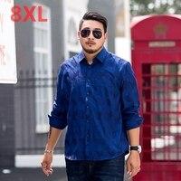 2018 New Plus Size 8XL 7XL 6XL Men S Business Print Dress Shirts Male Long Sleeve