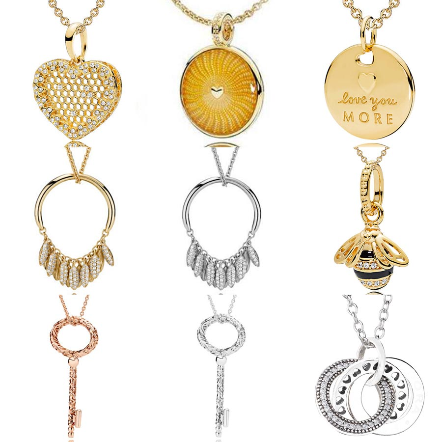 09e229d01f580 US $11.51 32% OFF|Shine Queen Bee Honeycomb Lace Regal Key Circle Of Seeds  Necklace For Women Gift Europe Jewelry 925 Sterling Silver Necklace-in ...