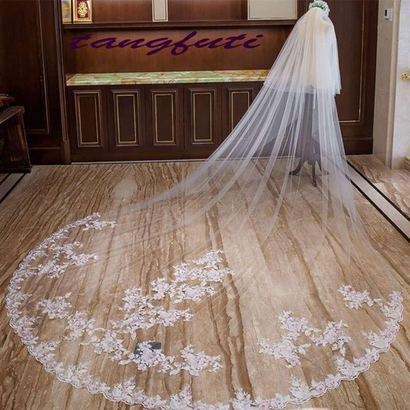 Voile de mariée blanc 3 M voile cathédrale Applique bord deux couches avec peigne voiles de mariage accessoires de mariage Long voile