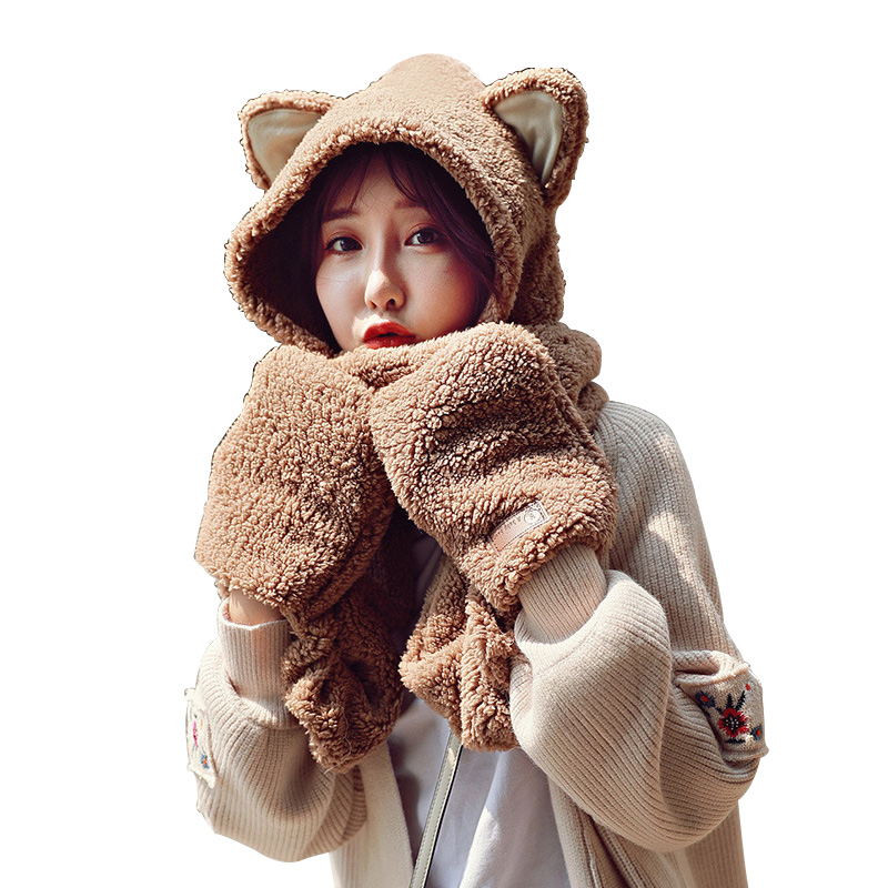 2019 New Cute Cartoon Scarves Gloves Cap Set Cotton Velvet Women's Winter Hats And Scarf Gloves Three In One Set Scarf For Women
