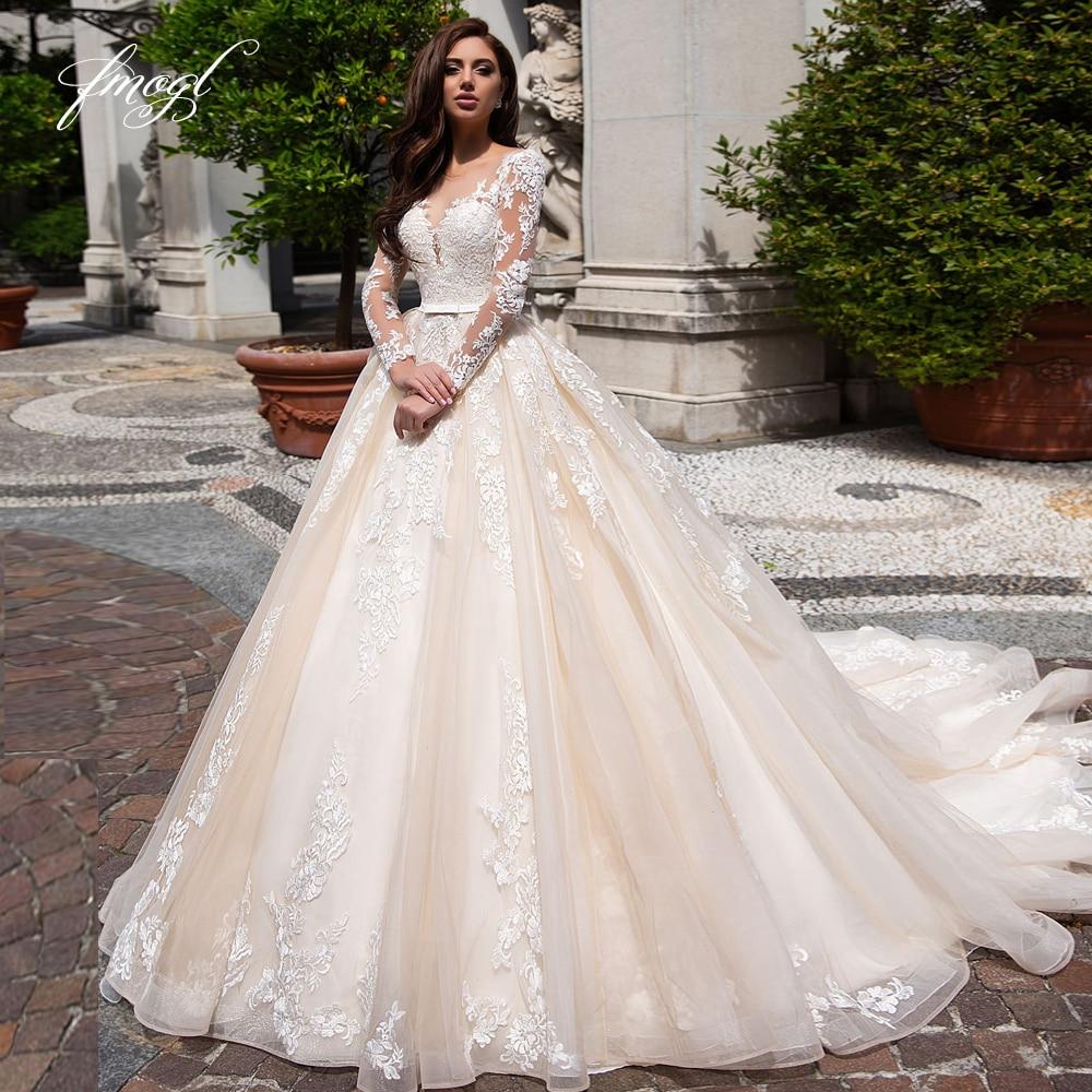 Fmogl Elegant Illusion Long Sleeve Vintage Wedding Dresses 2019 Luxury Scoop Neck Appliques Court Train A