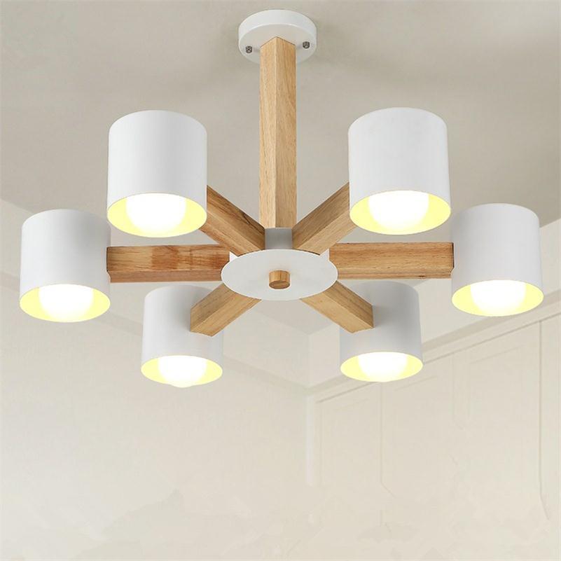 Minimalist Wooden Pendant Light Fixtures E27 Pendente De Teto Modern Indoor Metal Decoration Droplight Vintage Hanging