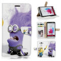 BTD Despicable Me 2 Minions Bananas Credit Card Slot Photo Frame For LG G3 Wallet Case with Foldable Stand Free Screen Film