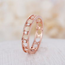 Huitan OL Stylish Ring Bands Rose Gold Color With Tiny Cubic Zircon Modest Ladies Accessories Jewelry Ring Dropshipping цена