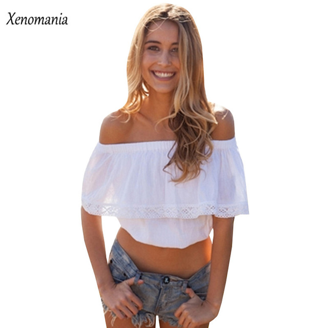 249122857116a Cold Shoulder Tops Off Shoulder Top White Shirt Women Crop Top 2017 Summer  Body Boho Cropped Blouse Blusas Kimono Plus Size Sexy