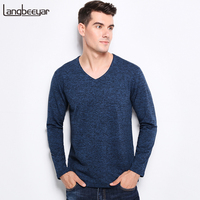 New Fashion Brand Men Clothes Tee Shirt V Neck Slim Fit Long Sleeve T Shirt Men
