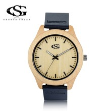 GS Brand Wrist Watches Ladies Maple Wood High Quality Leather Strap Watches Japan Movement Waterproof Watch