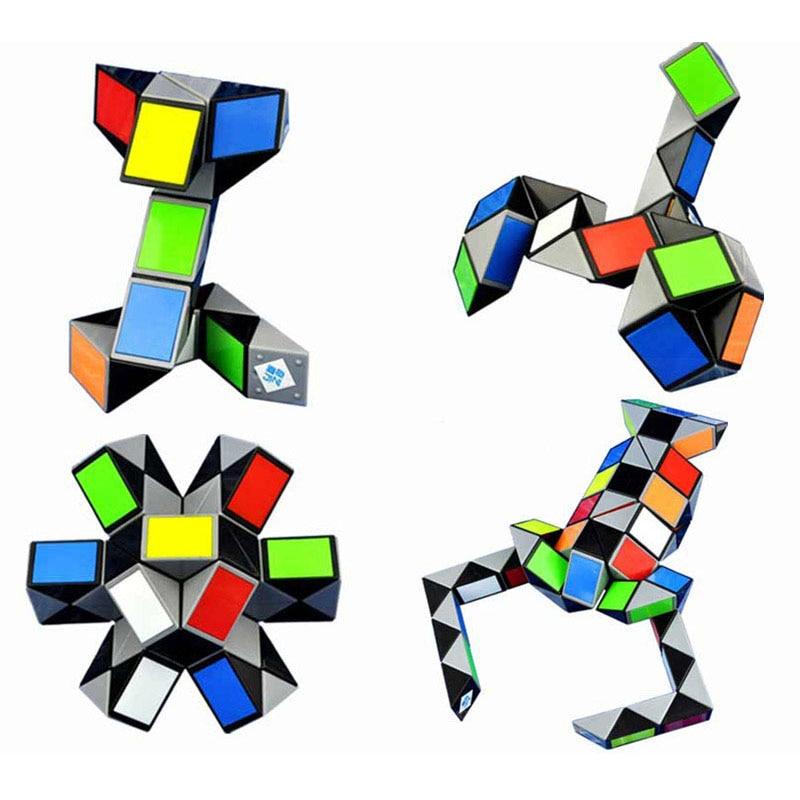3d colorido régua mágica 24/36/48/72 segmentos cobra torção cubo puzzle criança brinquedo educativo para crianças (s8