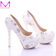 Plus Size Bridal Shoes White Womens Shoes on Sale 2016 Fashion Luxurious Pearls Crystals Wedding Party Prom High Heel Shoes