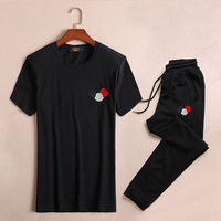 Brand New Novelty embroidery 3 colors cap Men Running Sportswear Tracksuits Men's Sets (tee shirt + pants) Top TEES #L112