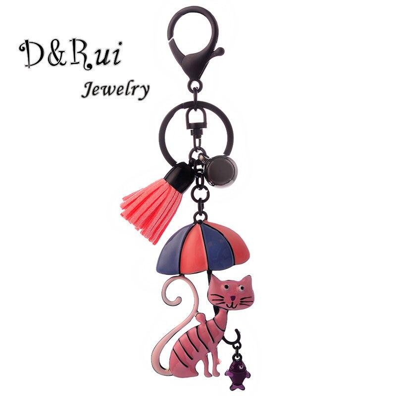 Cute Cat And Fish Key Chains For Women Enamel Zinc Alloy Fashion Girl Metal Pendant Keychain Fashion Tassels Key Chain 2019 New