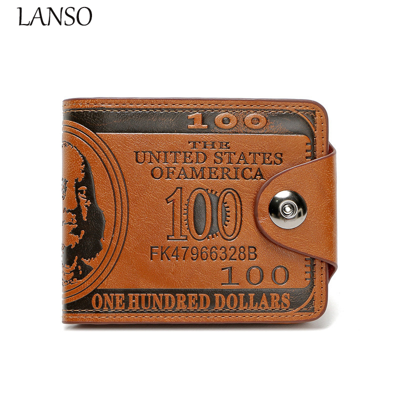 2017 Leather100 USD Dollar Bill Money Wallet Male's Purse Men 's Personality Creative Wallet Hundred Yuan Short Paragraph Wallet 2015 new male baridian us 100 dollar bill fake money short purses billeteras hombre women s wallets classic flag designer