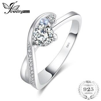 9ec3dacf4d3b JewelryPalace 1ct Zirconia cúbico genuino Topacio azul cielo promesa anillo  de compromiso 925 Plata de Ley 2018 nueva caliente para las mujeres