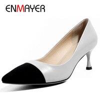 Бренд ENMAYER, на высоком каблуке Туфли лодочки женские острый носок женские офисные туфли обувь из натуральной кожи размеры 34–40 шпильки вечер