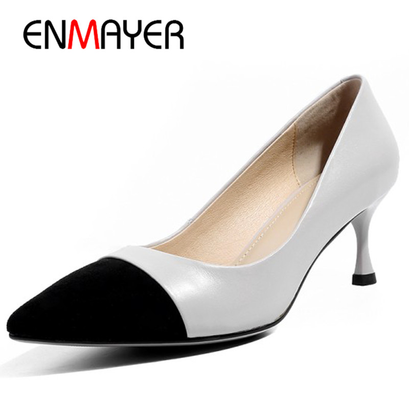 ENMAYER High Heels Pumps Shoes Woman Pointed Toe Office Ladies Shallow Genuine Leather Shoes Size 34-40 Thin Heels Party Wedding