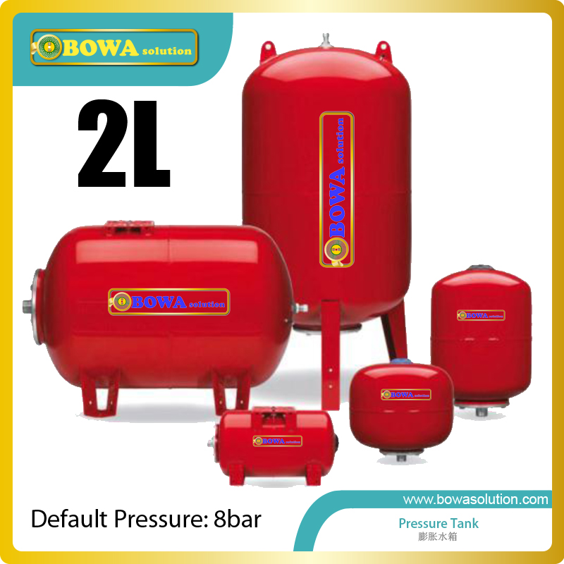 2L Carbon Steel Horizontal Or Vertical Pressure Tank Is Suitable For Small Volume Water Chiller Or Wate Temperature Machines