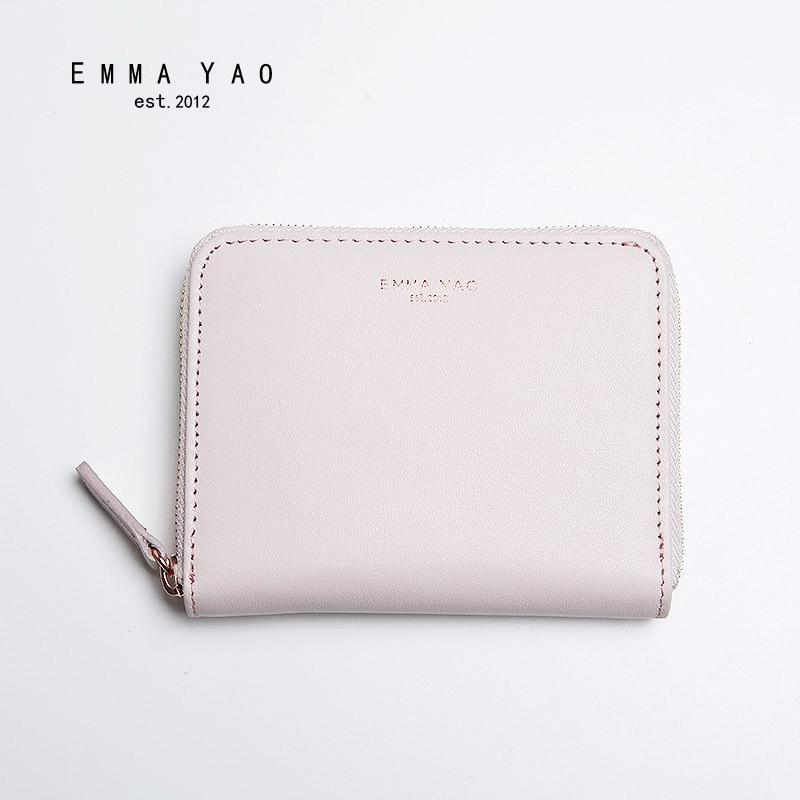 EMMA YAO läder plånbok kvinnliga mode myntpåsar hållare varumärke kvinna designer