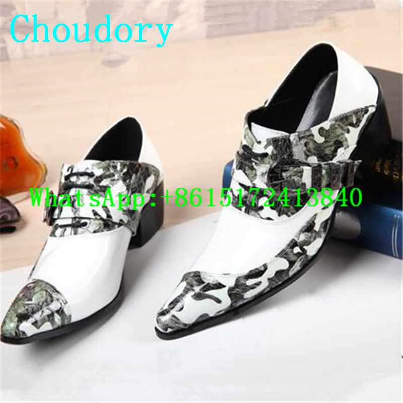 Choudory Leather Design Of Blue White Porcelain Brogue Shoes Height Increasing Mixed Colors Hasp Pointed Toe Men Casual Shoes