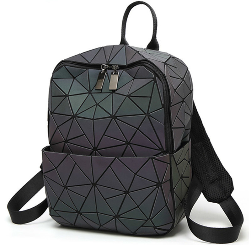 Hologram geometric diamond checkered backpack luminous travel men and women backpack pvc laser holographic sac a dos hot sale 2017 light winter running shoes for women cheap sneakers genuine leather breathable sport low dmx outdoor athletic