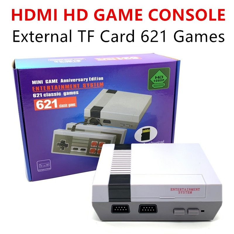 8 Bit Retro Handheld Game Player Family TV Video Game Console HDMI Output 600/621 Classic Games Built-in TF Card Can download