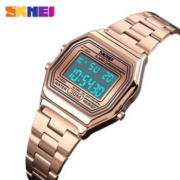 22c7ab291eb7 Relojes de Mujer Led cronógrafo electrónico de negocios Relojes de pulsera digitales  reloj femenino Mujer 2018 SKMEI