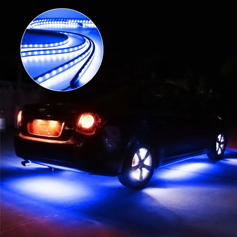 Image 2 - 4pcs Car Underglow Flexible Strip LED Remote /APP Control RGB Decorative Atmosphere Lamp Underglow Underbody System Neon Light-in Decorative Lamp from Automobiles & Motorcycles
