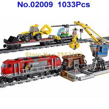 02009 1033pcs City Engineering Remote Control RC Train Building Block Compatible 60098 Brick Toy