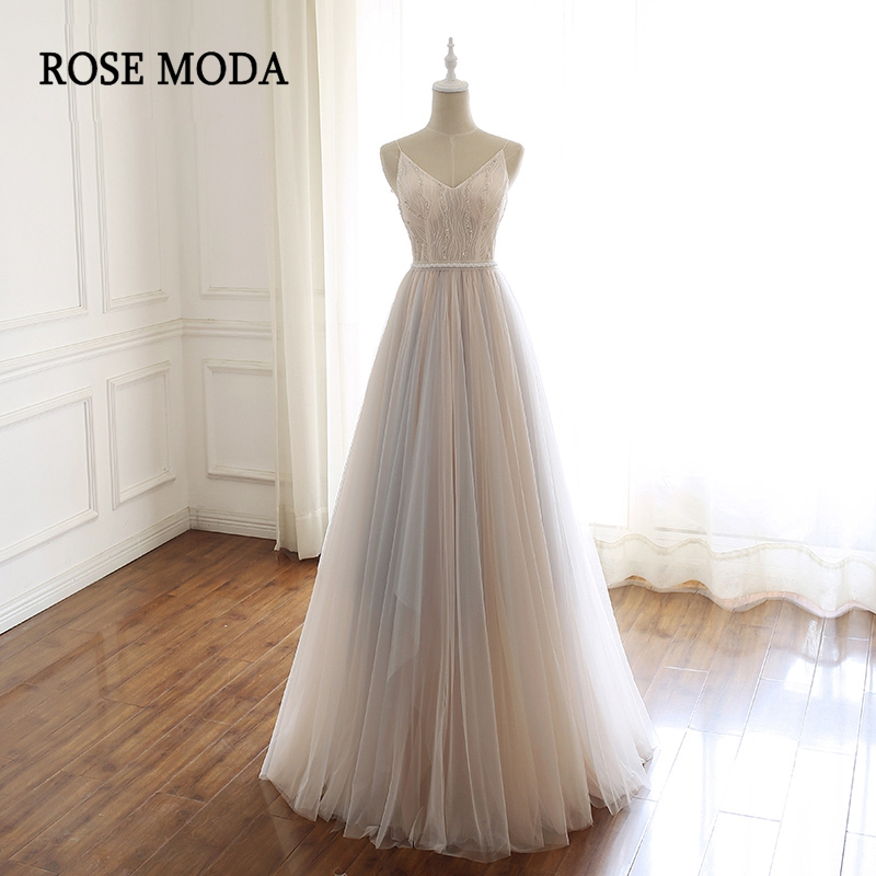 Rose Moda V Neck Long   Prom     Dresses   2019 with Lace Beaded Formal Party   Dress   Custom Make Real Photos