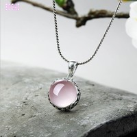 Natural powder crystal pendant s925 silver Thai silver carved hibiscus stone clavicle chain sweater chain woman's pendant
