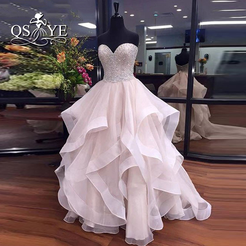 2018 Long   Prom     Dresses   Sexy Sweetheart Off the Shoulder Beading Top Ruffles Organza Formal Evening Party Gowns