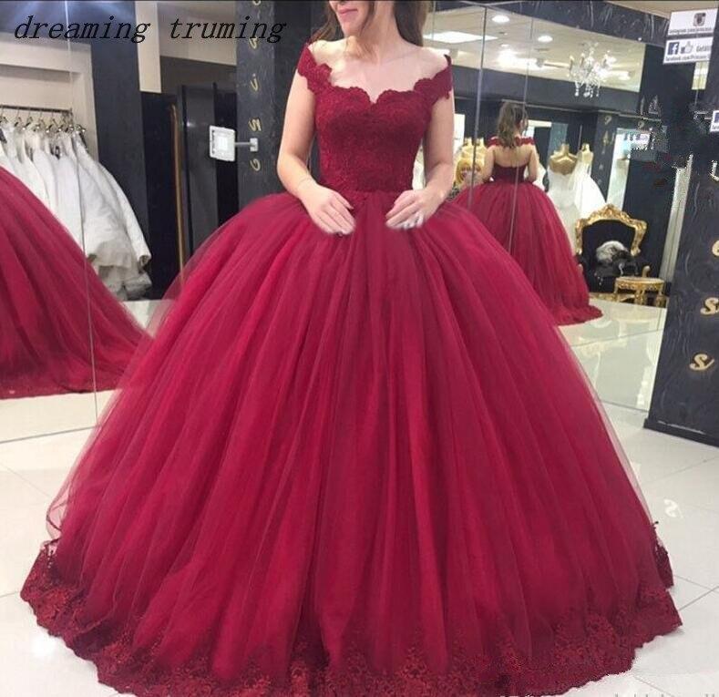 8f6a8097884 ... debutante dulce 16 vestidos de 15 anos. Cheap Vestidos de Quinceañera  de Borgoña Puffy vestidos de baile de encaje y tul vestido de