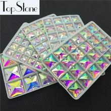 Квадратный пришитый камень, кристально чистый AB Цвет 10,12, 14,16, 22 мм, швейные стеклянные хрустальные бусины с плоским основанием, 2 отверстия для изготовления платья