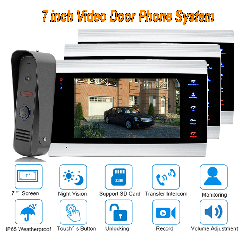 2017 Best Video Door Phone VDP with clear sound and picture with intercom systems ip65 Rainproof 1 camera 3 monitors
