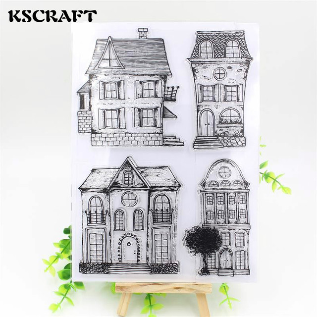 KSCRAFT House Transparent Clear Silicone Stamp/Seal for DIY scrapbooking/photo album Decorative clear stamp sheets