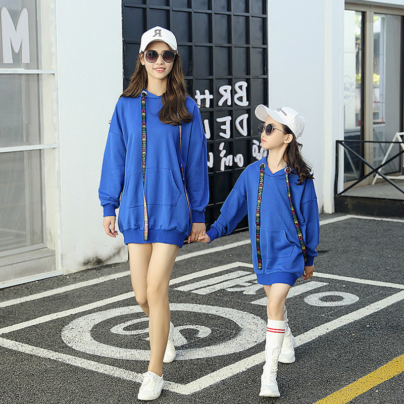 Mère-fille vêtements Parent-enfant sport mode pour filles Pure Hoodies solide enfants maman pulls décontractés bambin vêtements