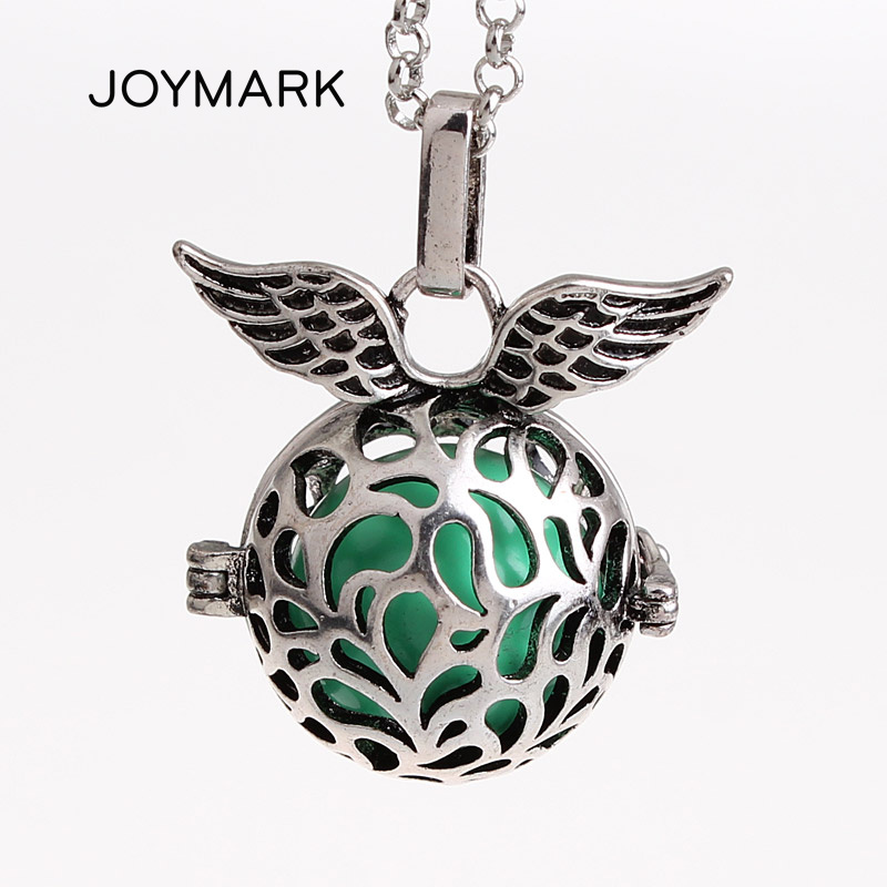 JOYMARK 12pcs lot Angel Wings Round Hollow Locket Cage Musical Sound Ball Pendant Long Chain Women