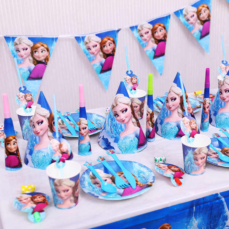 Frozen Party Elsa Princess Balloons Napins Tableware Set Birthday Party Decor Baby Shower Party Supplies Set Party Decoration