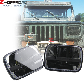 For Jeep XJ Cherokee 1984 to 2001 truck headlight 5x7 LED head light car lamp 6x7inch square head lamp replacement working light