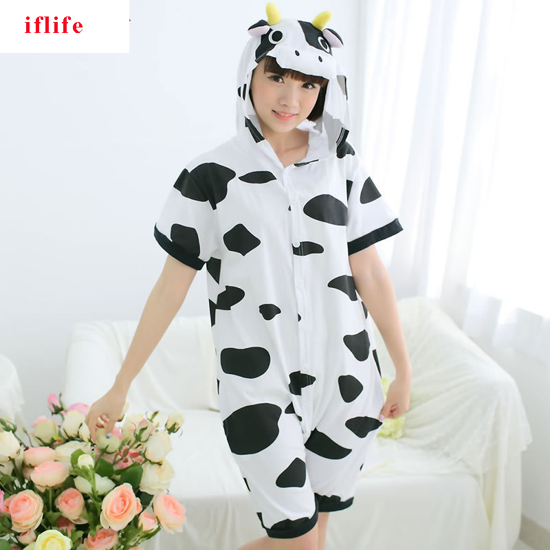 Kigurumi Onesie Unisex Adult Women Cow Cattle Pajamas Costume Animal Cosplay Summer Short Sleeve Cartoon Hoodie Sleepwear