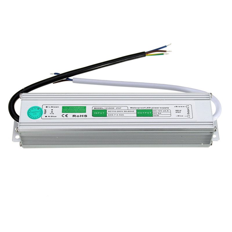 Waterproof DC Transformer 12V 5A 60W Power Supply IP67 LED Driver External Outdoor Adapter