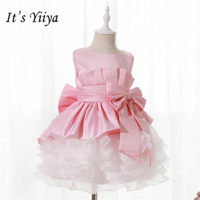 It's yiiya New Tiered Draped Little   Flower     Girl     Dresses   O-neck Tea-length Patchwork   Girl     Dress   B004