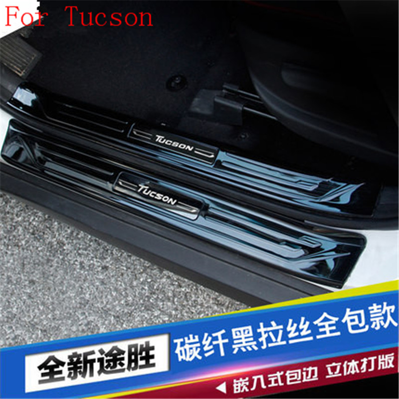 304 stainless steel Lengthen Scuff Plate/Door Sill Door Sill pedal bienvenidos 8PCS For Hyundai Tucson 215 2016 2017 Car styling 1 pcs diy car styling new pe thickening the boot pads case stickers for new chevrolet cruze 2015 parts accessories