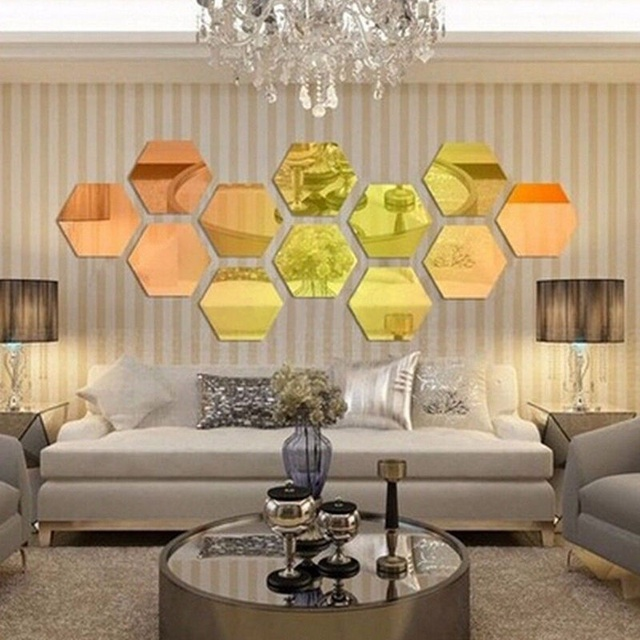 12pcs/set Hexagon Decorative 3D Acrylic Mirror Wall Stickers Living ...