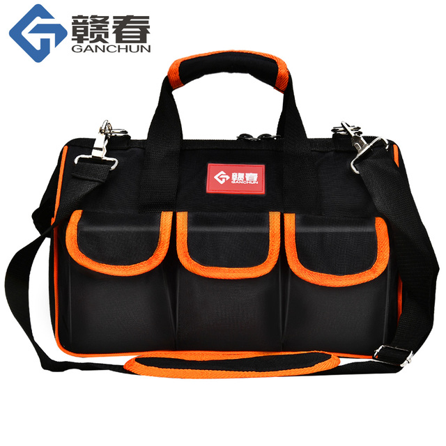 "Large Tool Bags 12""15""17""19"" Oxford Cloth Bag Waterproof Wide Mouth Electrician Organizer Storage Bags With Parts Box For Men"