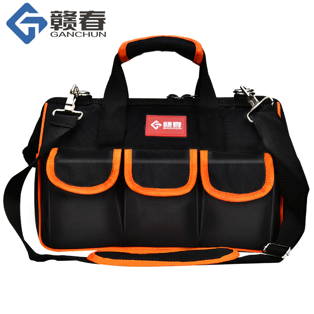 """Large Tool Bags 12""""15""""17""""19"""" Oxford Cloth Bag Waterproof Wide Mouth Electrician Organizer Storage Bags With Parts Box For Men"""