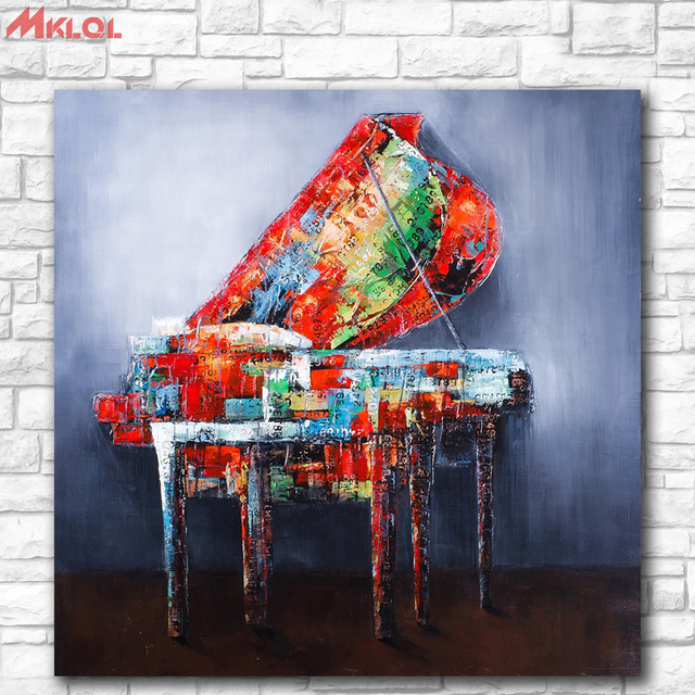 Huge Pop art Piano Oil Painting Wall Art Paiting Canvas Paints ...